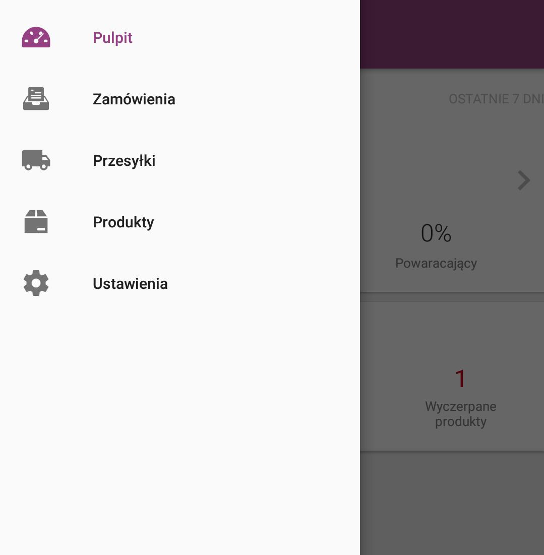 Sklep internetowy - Aplikacja mobilna - Ekran startowy - Przejdź do opcji Pulpit