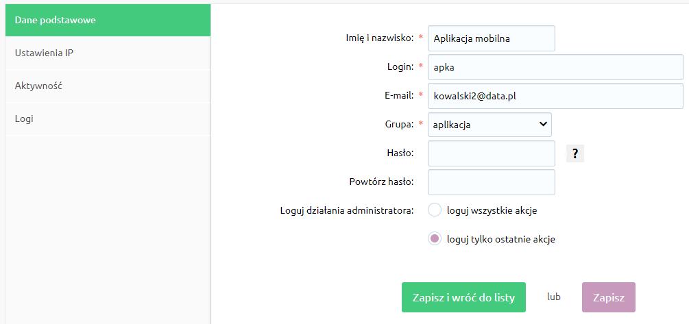 eSklep - Konfiguracja - Administracja, system - Administratorzy - Edytuj - Podejrzyj logi użytkownika (ostatnie wykonane akcje)