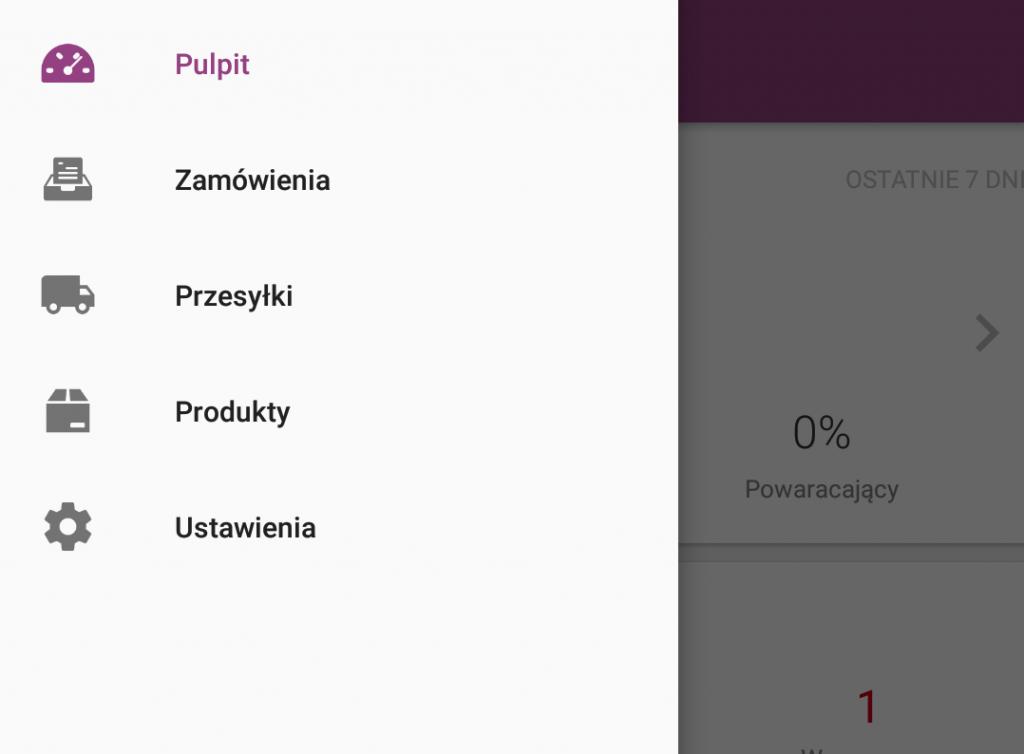Sklep internetowy - Aplikacja mobilna - Pulpit startowy - Skorzystaj z przycisku Menu aby przejść do innej sekcji aplikacji