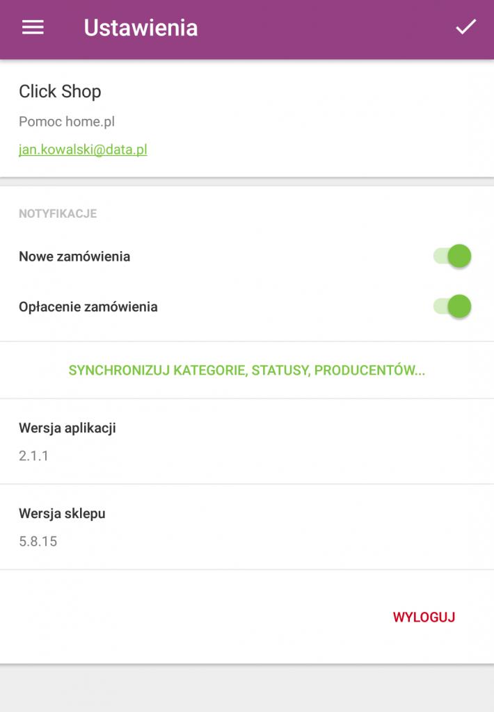 Sklep internetowy - Aplikacja mobilna - Pulpit startowy - Menu - Ustawienia - Wyloguj się z aplikacji mobilnej