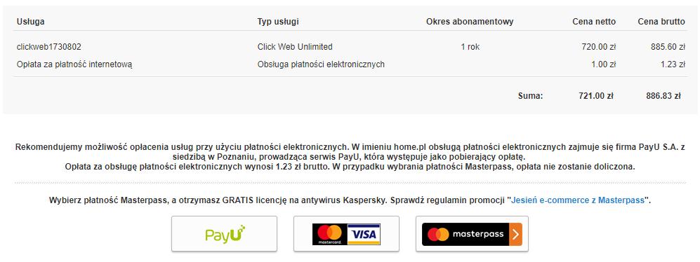Panel klienta home.pl - Płatności - Lista nieopłaconych PRO FORM - Opłać - Serwis płatności - Dokonaj wyboru jednej z dostępnych metod płatności
