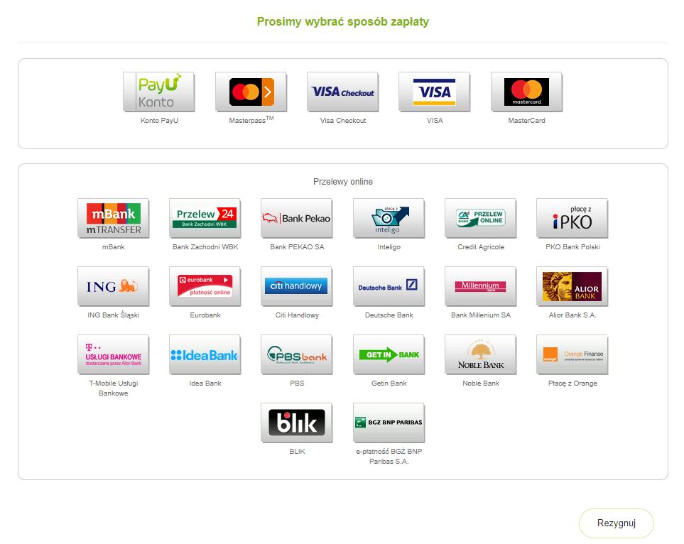Panel klienta - Płatności - Faktury nieopłacone - Opłacanie usług z faktury - Podsumowanie wpisanych danych - Wybierz jedną z dostępnych metod płatności