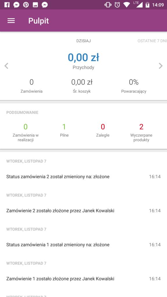 Sklep internetowy - Aplikacja mobilna - Pulpit startowy - Podgląd najważniejszych realizowanych operacji w sklepie