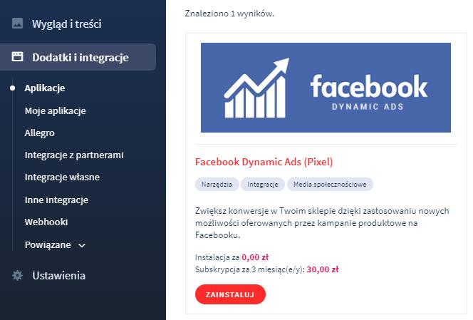 Aplikacja: Facebook Dynamic Ads (Pixel)