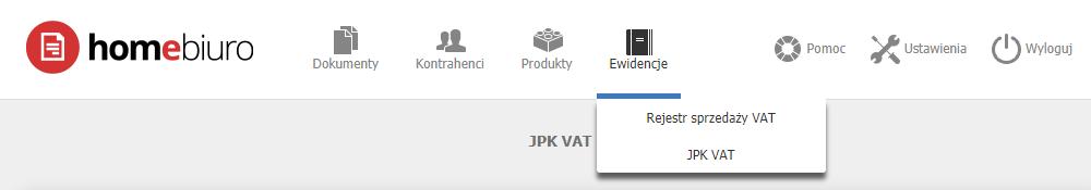 eKsięgowość - Ewidencje - Wybierz opcję JPK VAT