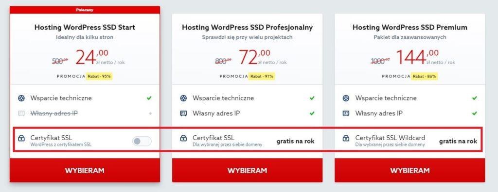 Przykładowa oferta hostingu WordPress - darmowy certyfikat SSL w home.pl.