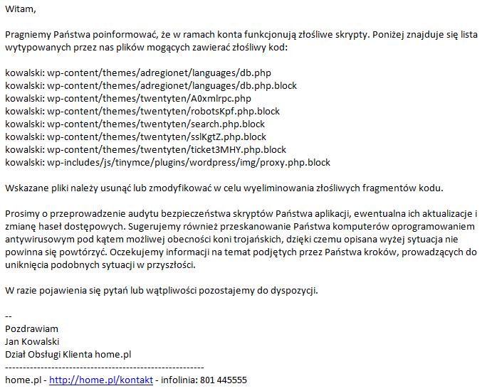 Przykładowa wiadomość wysyłana do Klienta w przypadku znalezienia złośliwego oprogramowania