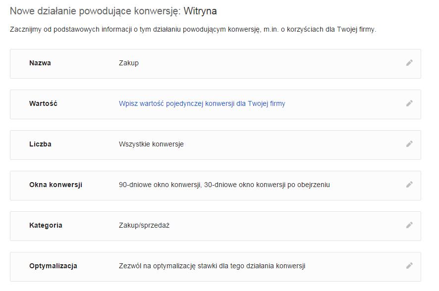Google AdWords - Narzędzia - Konwersje - Źródło konwersji - Witryna - Wpisz nazwę oraz wybór ustawień zgodnie z poniższym przykładem