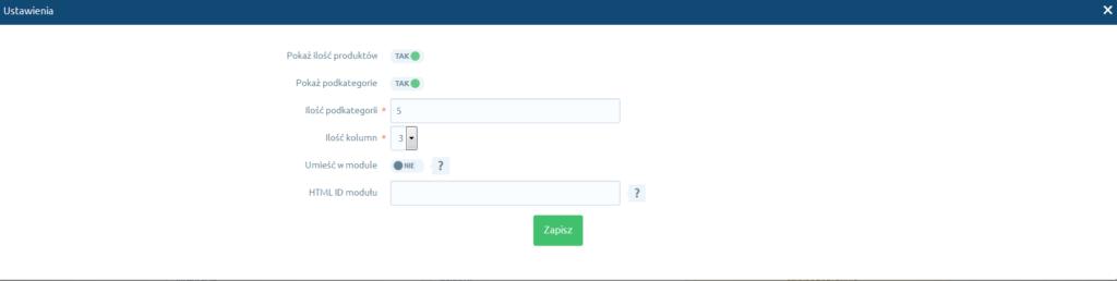 eSklep - Aplikacje - Moje aplikacje - Kategorie obrazkowe - Ustawienia - Określ funkcje aplikacji