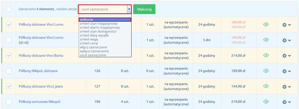 eSklep - Asortyment - Produkty - Lista - Z menu multiakcji, wybierz opcję aplikację
