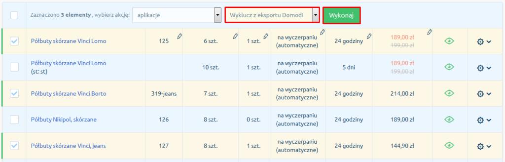eSklep - Asortyment - Produkty - Lista - Aplikacje - Wybierz opcję Wyklucz z eksportu Domodi