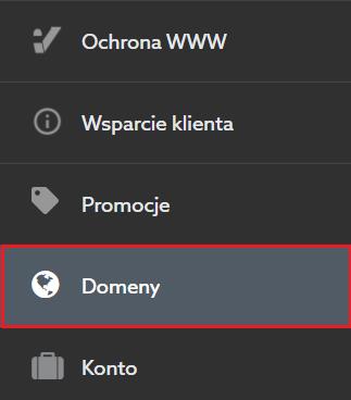 Lista przypisanych domen