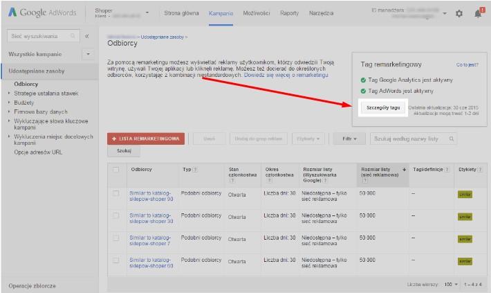 Google AdWords - Kampania - Udostępniane zasoby - Odbiorcy - Kliknij przycisk Szczegóły tagu