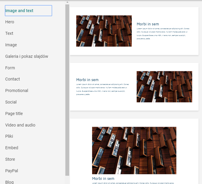 Sekcje/content na stronie WWW
