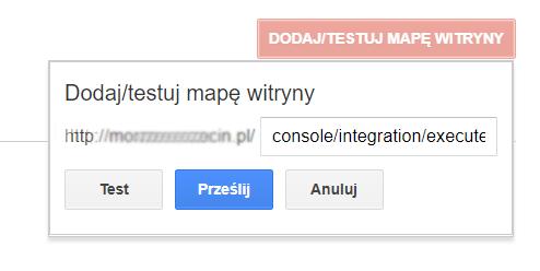 Narzędzia dla Webmasterów Google - Indeksowanie - Mapa witryny - Dodaj mapę witryny - Wpisz adres URL skopiowany w poprzednim kroku