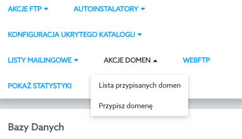 Panel klienta home.pl - Usługi WWW - Wybrana usługa - Akcje domen - Wybierz opcję Lista przypisanych domen