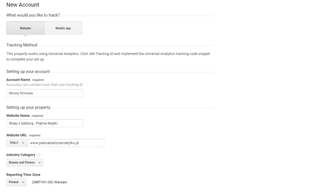 Google Analytics - New Account - Podaj podstawowe informacje o nowej witrynie WWW