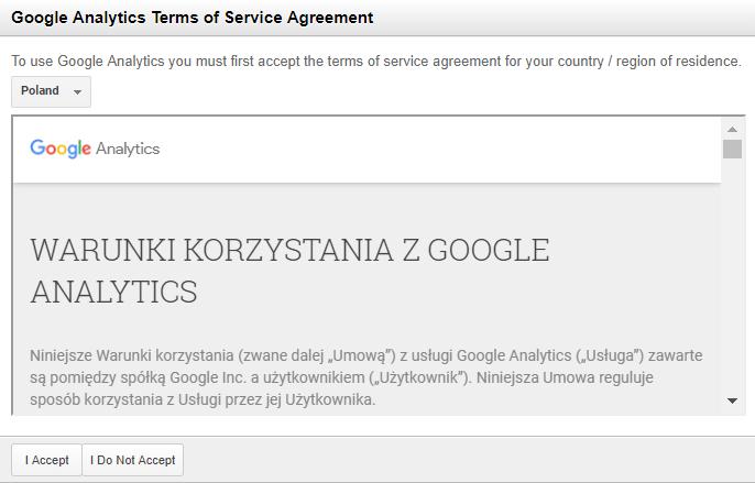 Google Analytics - New Account - Pobierz identyfikator śledzenia - Terms of Service Agreement - Zapoznaj się i zaakceptuj warunki świadczenia usługi Google