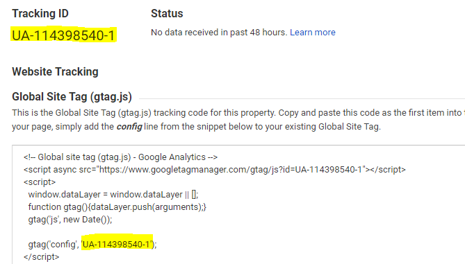 Google Analytics - New Account - Pobierz identyfikator śledzenia - Terms of Service Agreement - Tracking ID - Skopiuj wygenerowany kod śledzenia dla Twojej witryny WWW