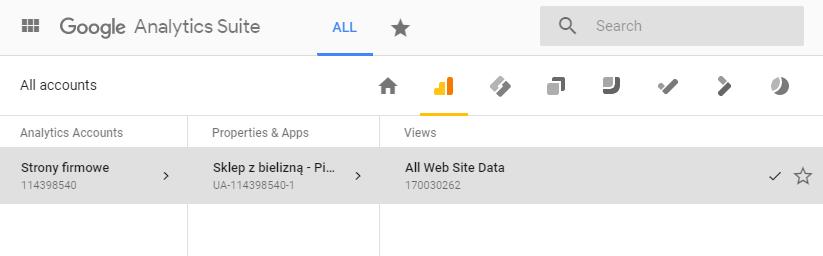 Google Analytics - All Web Site Data - Kliknij w nazwę wybranego serwisu WWW korzystając z okna nawigacji