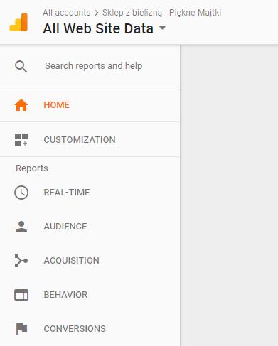 Google Analytics - Kliknij w przycisk All Web Site Data (Wszystkie dane witryny) aby przejść do zarządzania stronami WWW