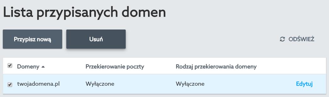 Panel klienta home.pl - Usługi WWW - Wybrana usługa - Przypisane domeny - Lista przypisanych domen - Zaznacz domenę i kliknij przycisk Usuń, aby odpiąć wybraną domenę od serwera