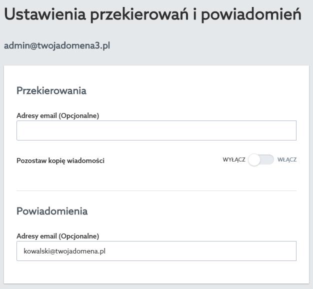 Panel klienta home.pl - Poczta - Skrzynki e-mail - Przekierowania - Ustawienia przekierowań i powiadomień - W polu Powiadomienia – adresy e-mail wpisz adres e-mail