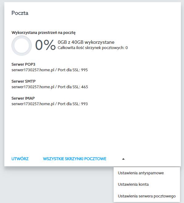 Panel Klienta home.pl - Usługi WWW - Serwer - Poczta - Wybierz opcję Ustawienia konta