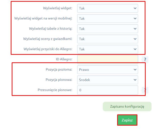 eSklep - Aplikacje - Moje aplikacje - Wysuwany widget opinii Allegro - Konfiguracja - Wybierz jakie elementy mają być wyświetlane oraz pozycję widgetu