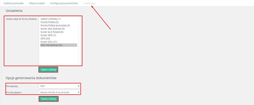 eSklep - Aplikacje - Moje Aplikacje - DHL kurier - Ustawienia aplikacji - Ustawienia - Zdefiniuj formę dostawy dla której zostanie wyświetlona mapa ParcelShop