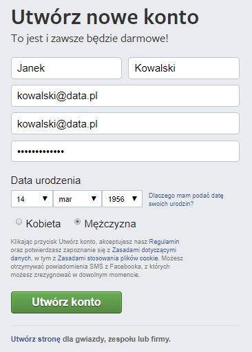 Facebook - Wypełnij pola w formularzu rejestracyjnym