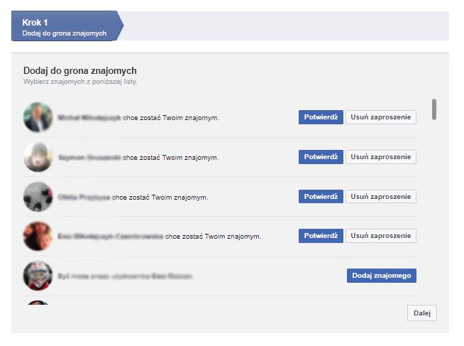 Facebook - Krok 1 - Sprawdź, czy znasz proponowanych znajomych i dodaj ich do profilu
