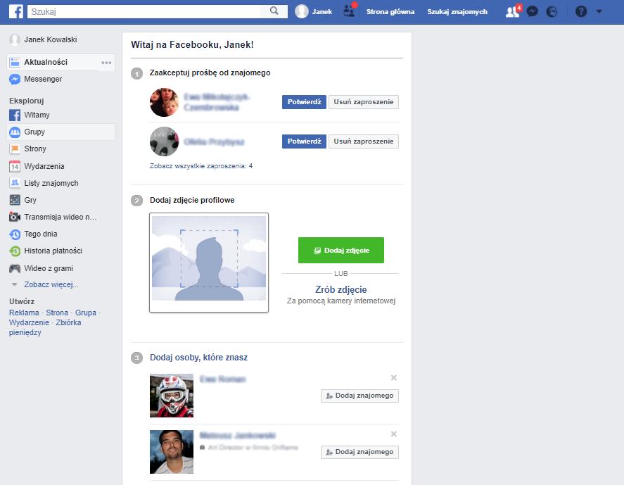 Facebook - Profil został utworzony - Zakończ konfiguracje