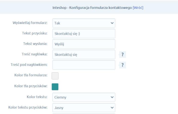eSklep - Aplikacje - Moje aplikacje - Wysuwany formularz kontaktowy - Edytuj ustawienia aplikacji formularza