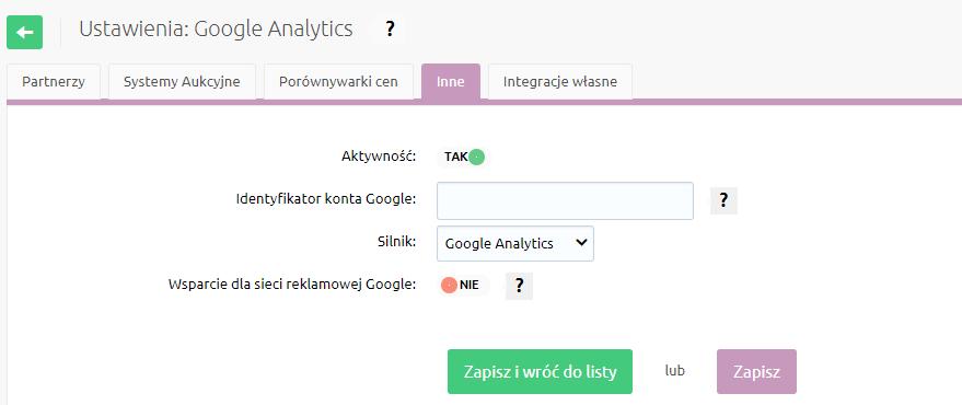 Sklep internetowy - Konfiguracja - Integracje - Inne - Skonfiguruj standardowe ustawienia Google Analytics