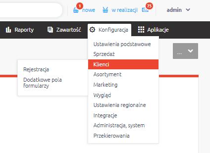 eSklep - Konfiguracja - Klienci - Wybierz opcję Rejestracja