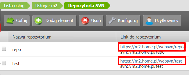 Panel klienta - Usługi - Nazwa usługi - Konfiguracja usługi - Repozytoria SVN - Sprawdź Link do repozytorium