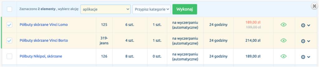 eSklep - Asortyment - Produkty - Zaznacz wybrane produkty i wybierz akcję Aplikacje - Masowe przypisywanie kategorii