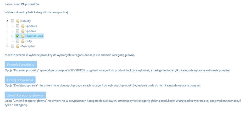 eSklep - Asortyment - Produkty - Aplikacje - Masowe przypisywanie kategorii - Wybierz dowolną ilość kategorii z drzewa poniżej