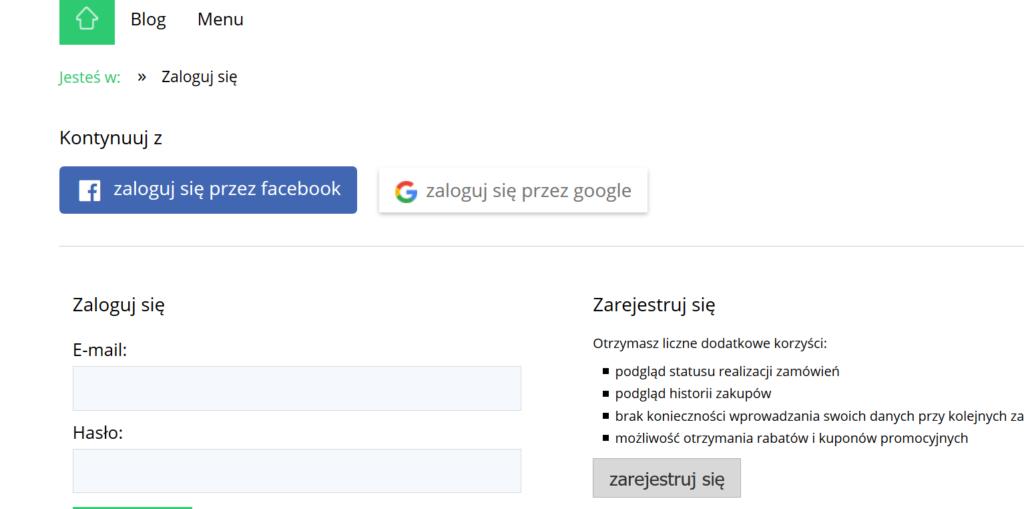 eSklep - Zaloguj się - Przykładowy widok możliwości zalogowania się przez Facebooka oraz Google+