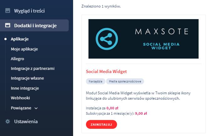 Aplikacja: Social Media Widget
