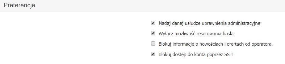 Panel klienta home.pl - Usługi - Nazwa serwera - Konfiguracja usługi - Preferencje - Zmień ustawienia