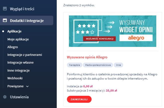 Aplikacja: Wysuwany widget opinii Allegro