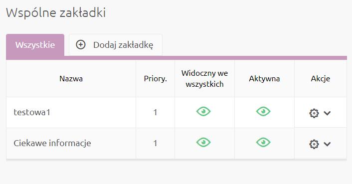 eSklep - Aplikacje - Moje aplikacje - Dodatkowe zakładki - Wspólne zakładki - Dodaj nową zakładkę lub zarządzaj już utworzonymi zakładkami