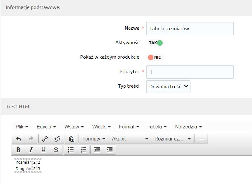 eSklep - Aplikacje - Moje aplikacje - Dodatkowe zakładki - Wspólne zakładki - Dodaj zakładkę - Informacje podstawowe - Zaznacz Aktywność na TAK aby aktywować zakładkę