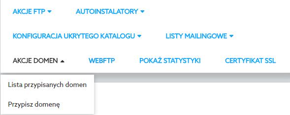 Panel Klienta home.pl - Usługi WWW - Wybrany serwer - Akcje domen - Wybierz opcję Lista przypisanych domen