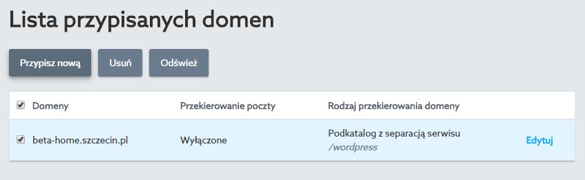 Panel Klienta home.pl - Usługi WWW - Wybrany serwer - Akcje domen - Lista przypisanych domen - Wybierz domenę i edytuj jej ustawienia