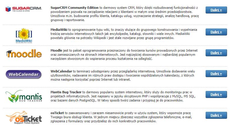 Usługi dodatkowe - Autoinstalator - Lista dostępnych skryptów w kategorii pozostałe