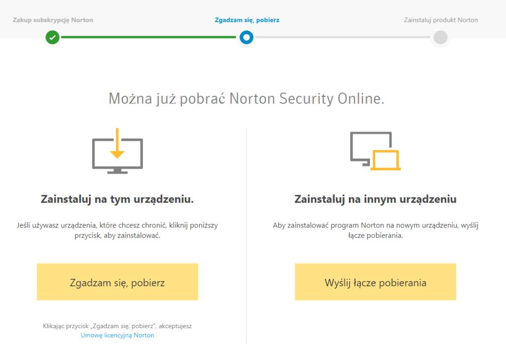 Norton - Zakup subskrypcji Norton - Zgadzam się, pobierz - Skorzystaj z opcji Zainstaluj na innym urządzeniu aby przesłać swój link instalacyjny