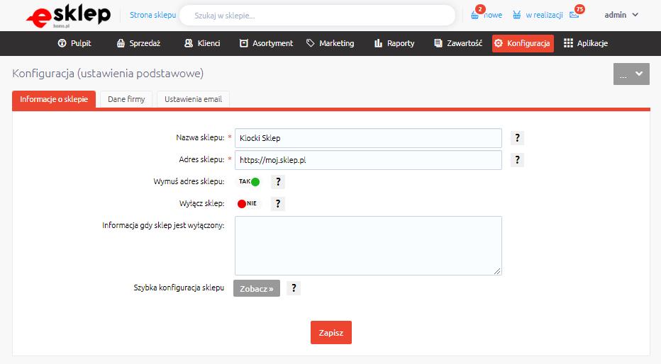 eSklep - Konfiguracja - Ustawienia podstawowe - Informacje o sklepie - Edytuj zawartość pola Adres sklepu wprowadzając aktualny adres sklepu, na podstawie adresu Twojej domeny